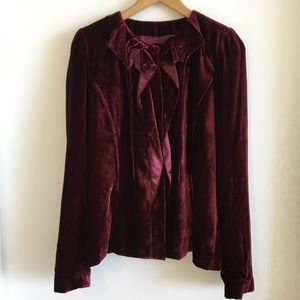 T Tahari Button Up Burgundy Ruffle Blazer